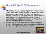 house bill no 4271 dispensaries
