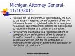 michigan attorney general 11 10 2011