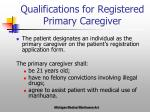 qualifications for registered primary caregiver