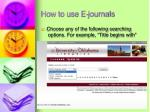 how to use e journals1