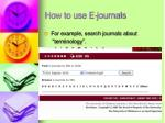 how to use e journals2
