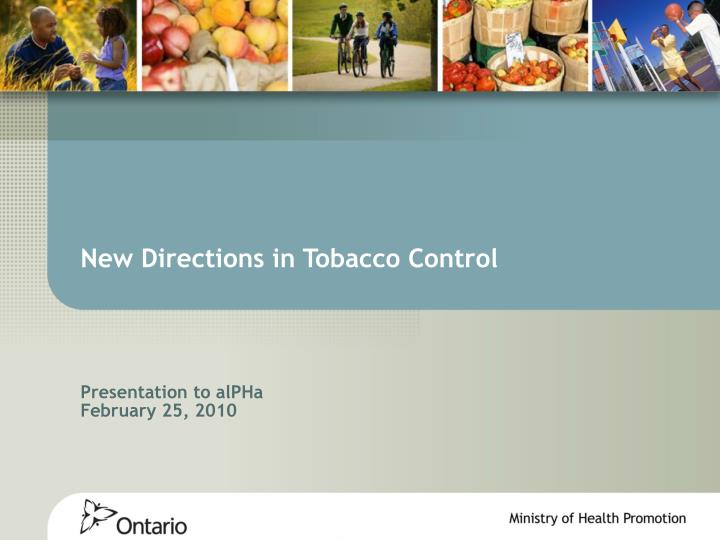 new directions in tobacco control n.