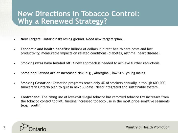 New Directions in Tobacco Control: