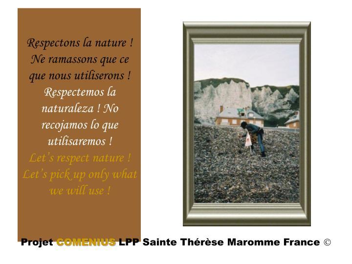Respectons la nature! Ne ramassons que ce que nous utiliserons!