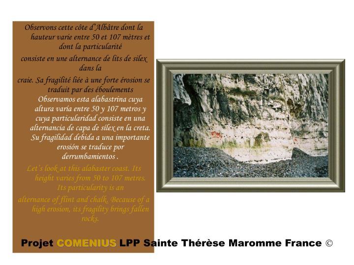 Observons cette côte d'Albâtre dont la hauteur varie entre 50 et 107 mètres et dont la particularité