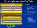 driver implementation pre vista