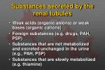 substances secreted by the renal tubules