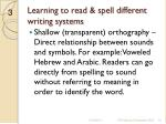 learning to read spell different writing systems