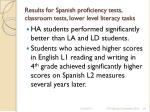 results for spanish proficiency tests classroom tests lower level literacy tasks