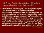 pair share read the letter to louis xiv and give examples from your notes that support this