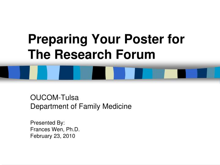 preparing your poster for the research forum n.