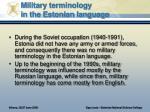 military terminology in the estonian language