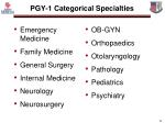 pgy 1 categorical specialties