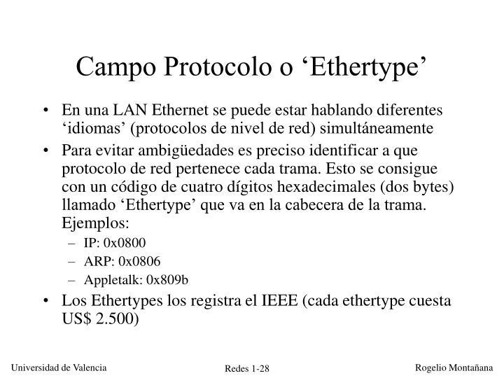 Campo Protocolo o 'Ethertype'