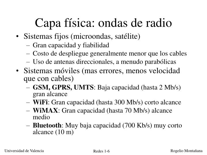Capa física: ondas de radio