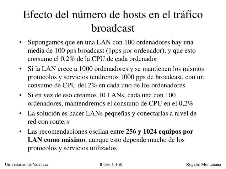Efecto del número de hosts en el tráfico broadcast