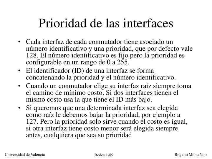 Prioridad de las interfaces