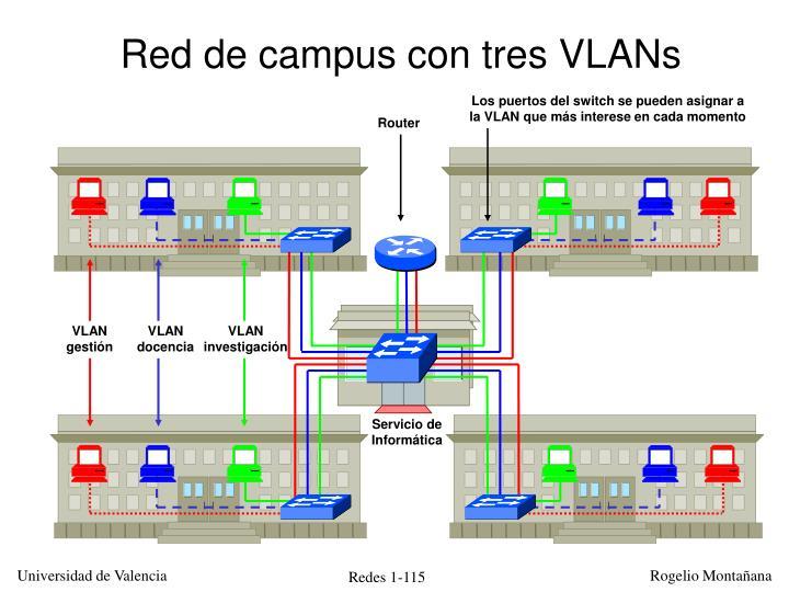 Red de campus con tres VLANs