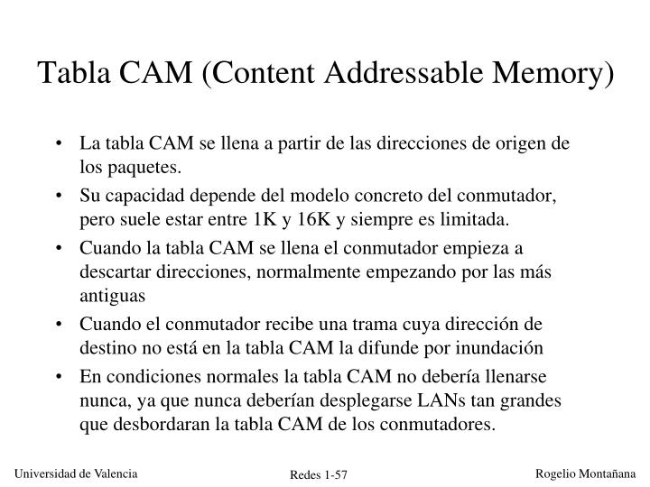 Tabla CAM (Content Addressable Memory)