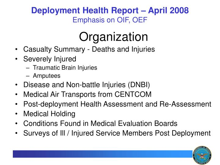 deployment health report april 2008 emphasis on oif oef n.