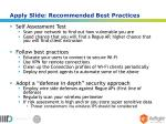 apply slide recommended best practices