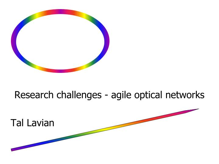 research challenges agile optical networks tal lavian n.