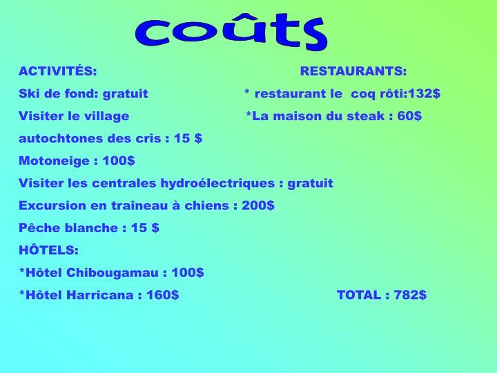 coûts