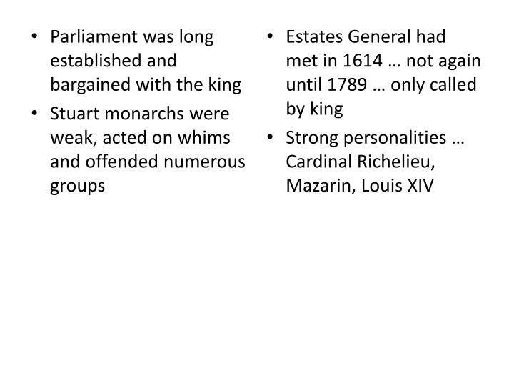 Parliament was long established and bargained with the king
