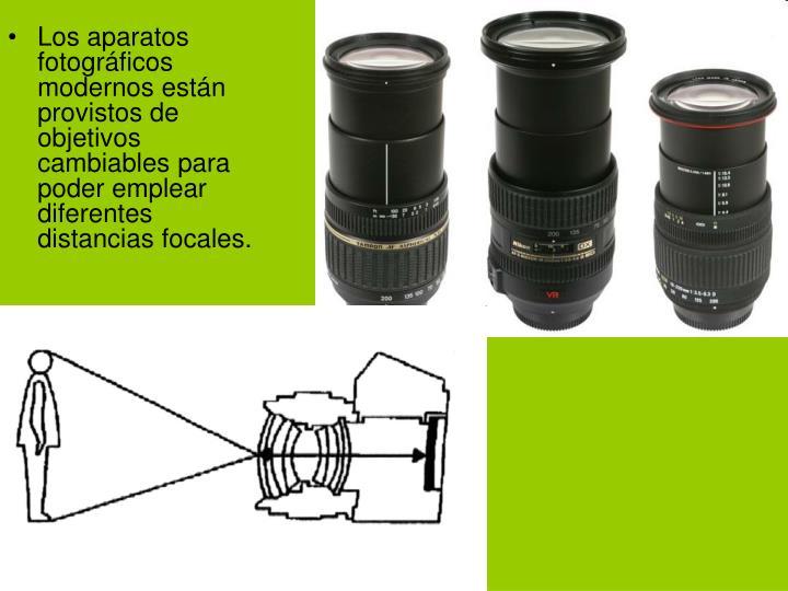 Los aparatos fotográficos modernos están provistos de objetivos cambiables para poder emplear diferentes distancias focales.