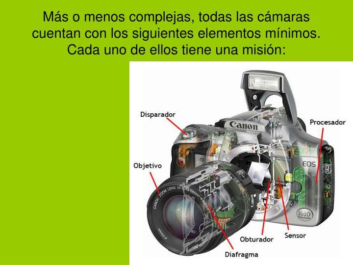 Más o menos complejas, todas las cámaras cuentan con los siguientes elementos mínimos. Cada uno de ellos tiene una misión: