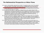 the mathematical perspective on water flows