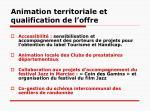animation territoriale et qualification de l offre