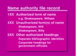name authority file record