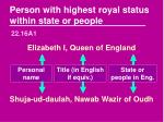 person with highest royal status within state or people