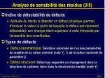analyse de sensibilit des r sidus 3 5