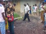 oil spill right by houses in warri