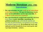 moderne literatuur 1914 1940 expressionisme