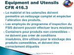 equipment and utensils cfr 416 3