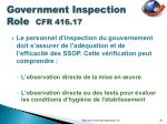 government inspection role cfr 416 171