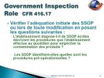 government inspection role cfr 416 172