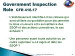 government inspection role cfr 416 175