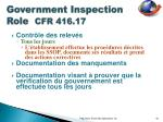government inspection role cfr 416 179