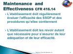 maintenance and effectiveness cfr 416 14