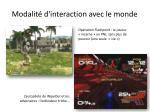 modalit d interaction avec le monde1