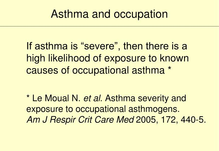 Asthma and occupation