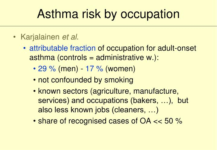 Asthma risk by occupation