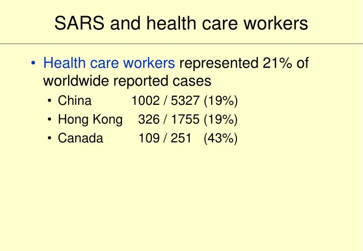 SARS and health care workers