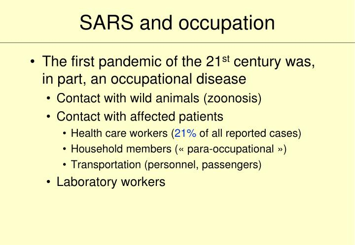 SARS and occupation