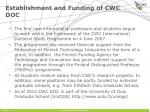 establishment and funding of cwc doc