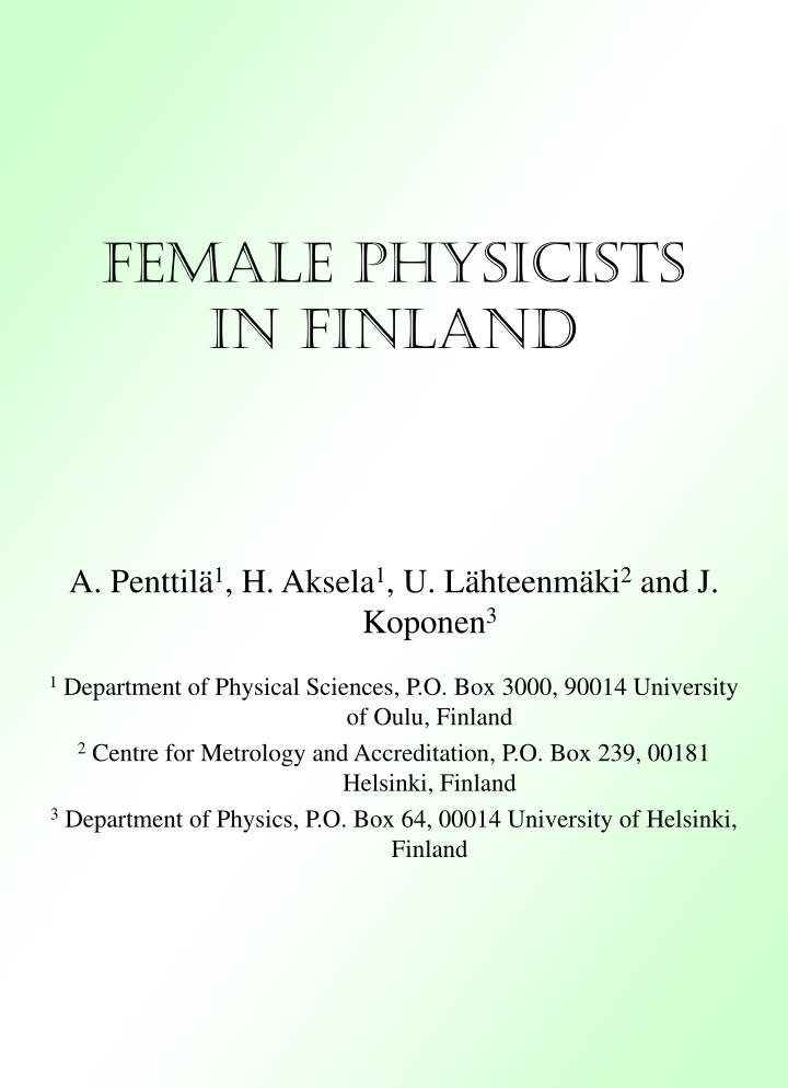 female physicists in finland n.